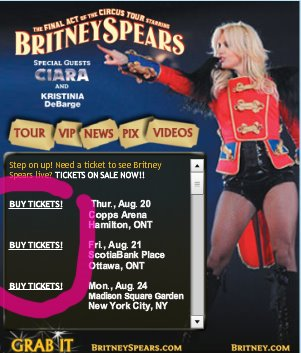 Call to Action - Britney Spears Tickets